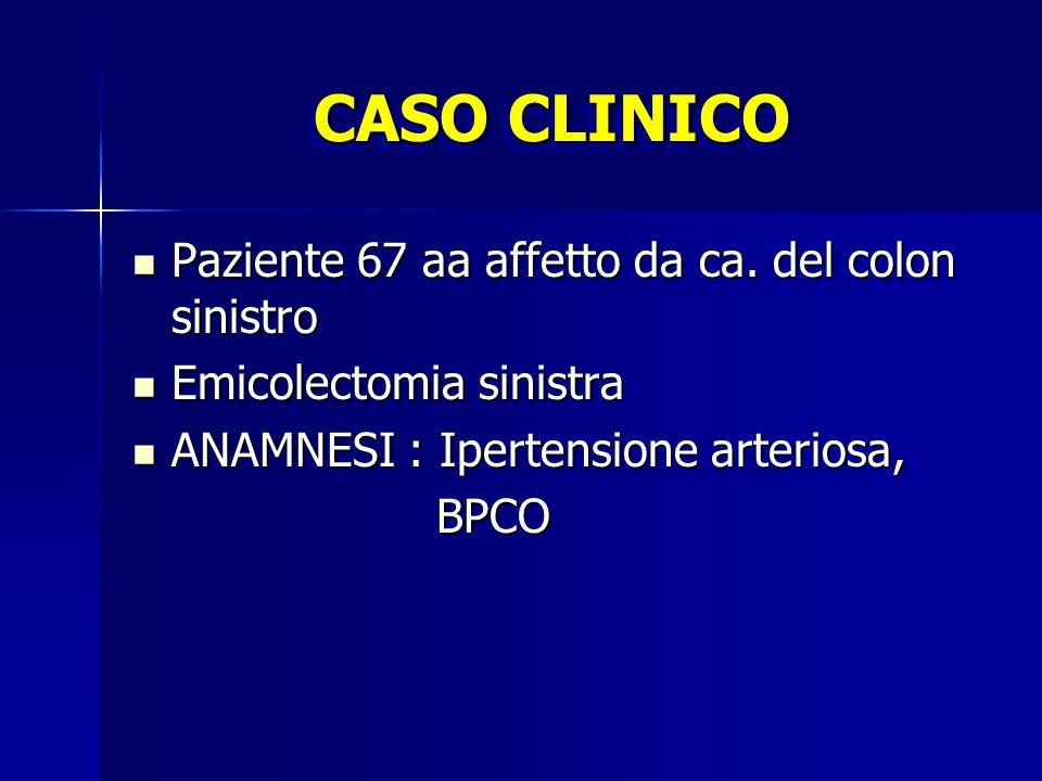CASO CLINICO Paziente 67 aa affetto da ca. del colon sinistro Paziente 67 aa affetto da ca. del colon sinistro Emicolectomia sinistra Emicolectomia si