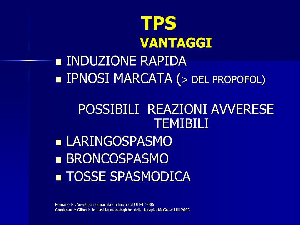 TPSTPS VANTAGGI INDUZIONE RAPIDA INDUZIONE RAPIDA IPNOSI MARCATA ( > DEL PROPOFOL) IPNOSI MARCATA ( > DEL PROPOFOL) POSSIBILI REAZIONI AVVERESE TEMIBI
