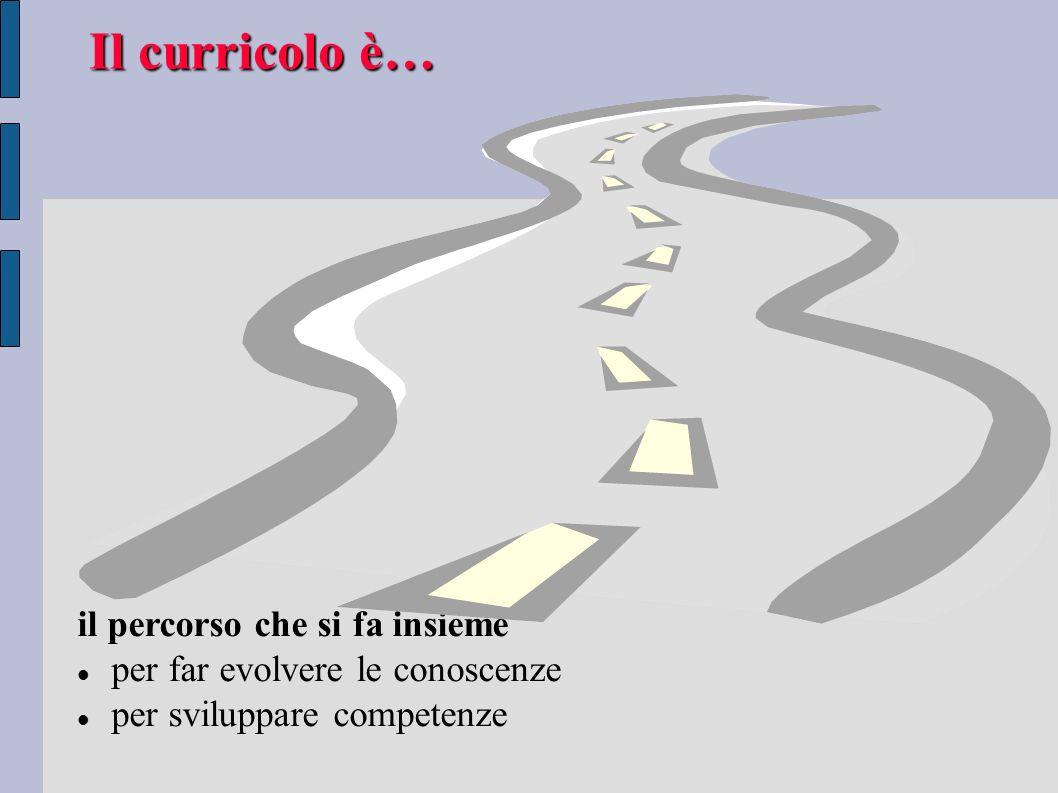 Il curricolo è… il percorso che si fa insieme per far evolvere le conoscenze per sviluppare competenze