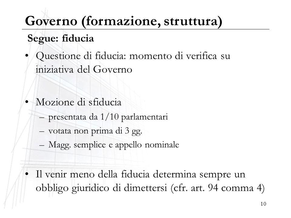 10 Segue: fiducia Questione di fiducia: momento di verifica su iniziativa del Governo Mozione di sfiducia –presentata da 1/10 parlamentari –votata non