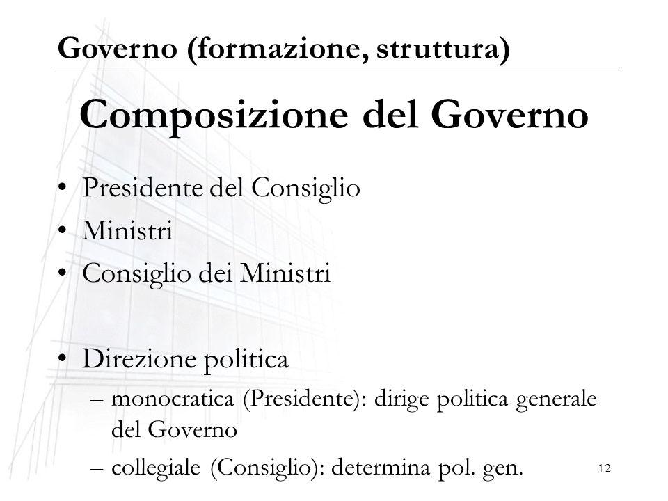 12 Composizione del Governo Presidente del Consiglio Ministri Consiglio dei Ministri Direzione politica –monocratica (Presidente): dirige politica gen
