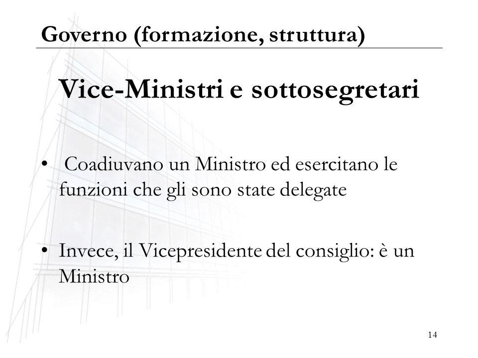 14 Vice-Ministri e sottosegretari Coadiuvano un Ministro ed esercitano le funzioni che gli sono state delegate Invece, il Vicepresidente del consiglio