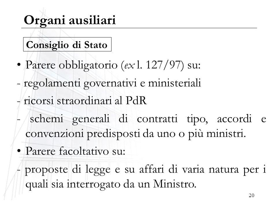 20 Organi ausiliari Parere obbligatorio (ex l. 127/97) su: - regolamenti governativi e ministeriali - ricorsi straordinari al PdR - schemi generali di