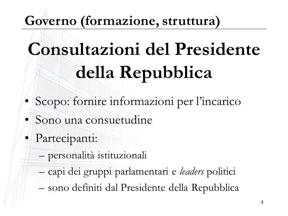 4 Consultazioni del Presidente della Repubblica Scopo: fornire informazioni per lincarico Sono una consuetudine Partecipanti: –personalità istituziona