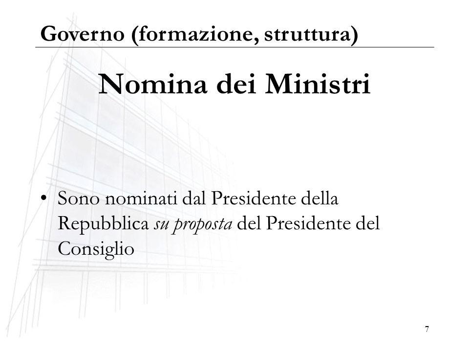 7 Nomina dei Ministri Sono nominati dal Presidente della Repubblica su proposta del Presidente del Consiglio Governo (formazione, struttura)