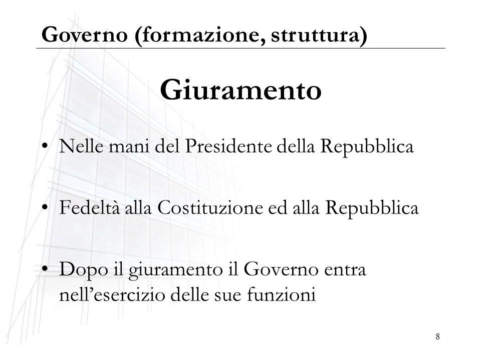 8 Giuramento Nelle mani del Presidente della Repubblica Fedeltà alla Costituzione ed alla Repubblica Dopo il giuramento il Governo entra nellesercizio
