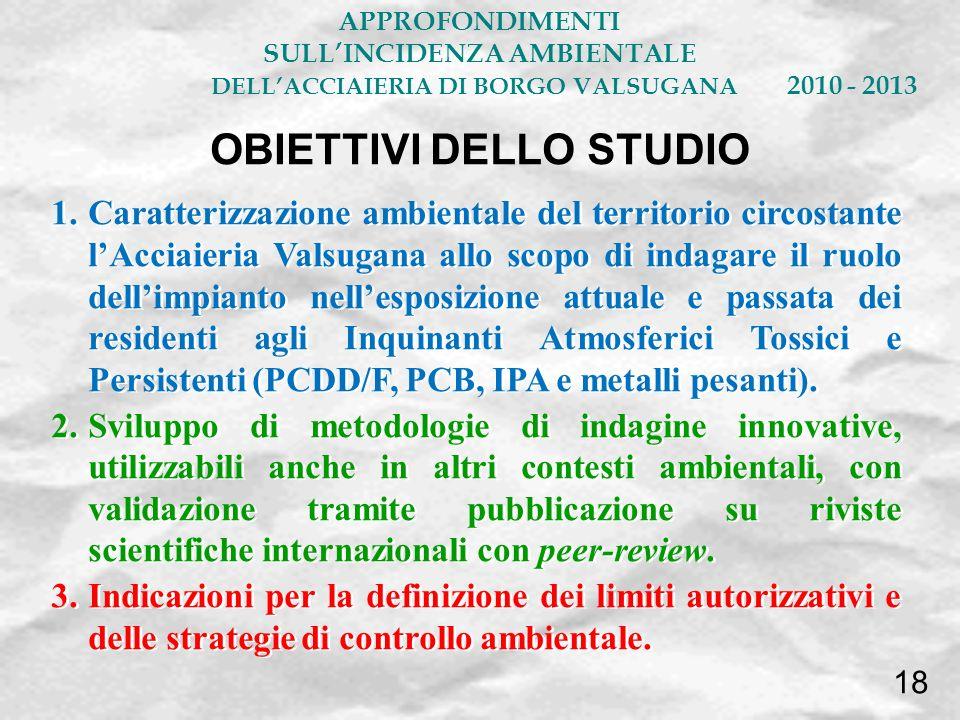 OBIETTIVI DELLO STUDIO APPROFONDIMENTI SULLINCIDENZA AMBIENTALE DELLACCIAIERIA DI BORGO VALSUGANA 2010 - 2013 18 1.Caratterizzazione ambientale del te