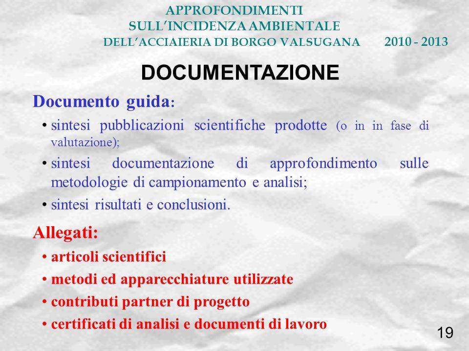 Documento guida : sintesi pubblicazioni scientifiche prodotte (o in in fase di valutazione); sintesi documentazione di approfondimento sulle metodolog