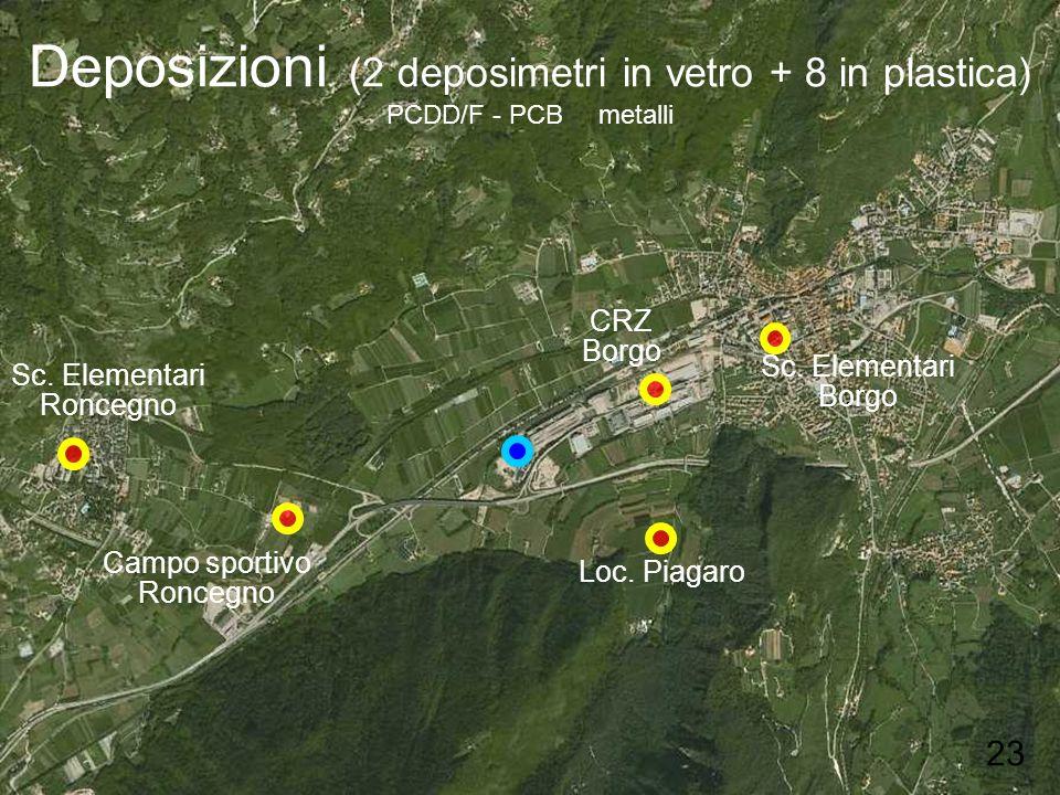Deposizioni (2 deposimetri in vetro + 8 in plastica) PCDD/F - PCB metalli Sc. Elementari Borgo Sc. Elementari Roncegno Campo sportivo Roncegno Loc. Pi
