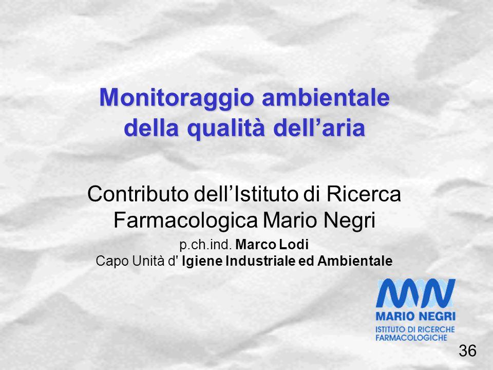 Monitoraggio ambientale della qualità dellaria Contributo dellIstituto di Ricerca Farmacologica Mario Negri p.ch.ind. Marco Lodi Capo Unità d' Igiene