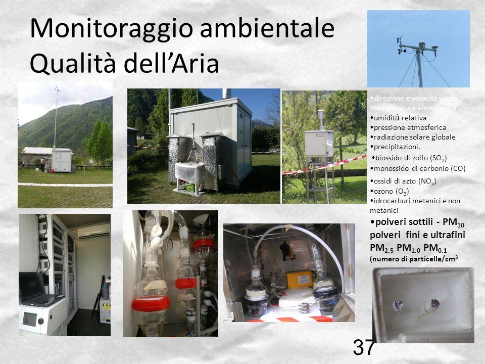 Monitoraggio ambientale Qualità dellAria 37 monossido di carbonio (CO) ossidi di azto (NO x ) ozono (O 3 ) idrocarburi metanici e non metanici polveri