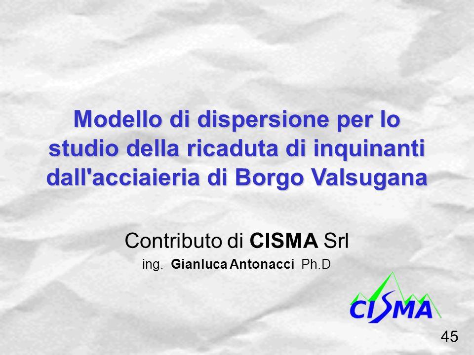 Modello di dispersione per lo studio della ricaduta di inquinanti dall'acciaieria di Borgo Valsugana Contributo di CISMA Srl ing. Gianluca Antonacci P