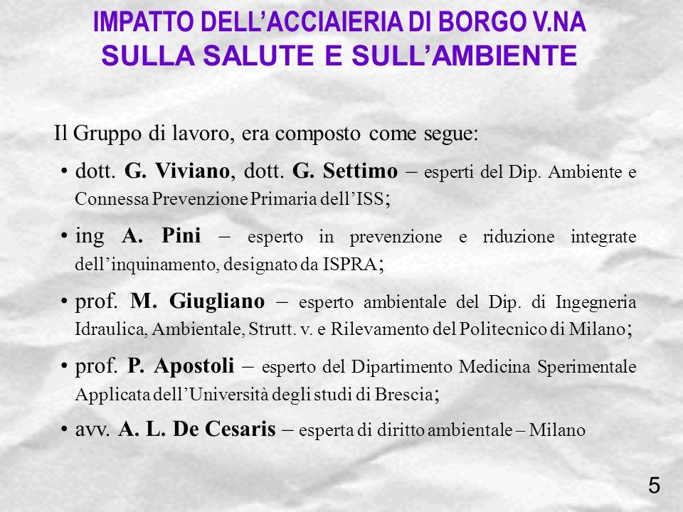 Il Gruppo di lavoro, era composto come segue: dott. G. Viviano, dott. G. Settimo – esperti del Dip. Ambiente e Connessa Prevenzione Primaria dellISS ;