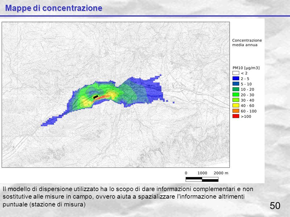 Mappe di concentrazione Il modello di dispersione utilizzato ha lo scopo di dare informazioni complementari e non sostitutive alle misure in campo, ov