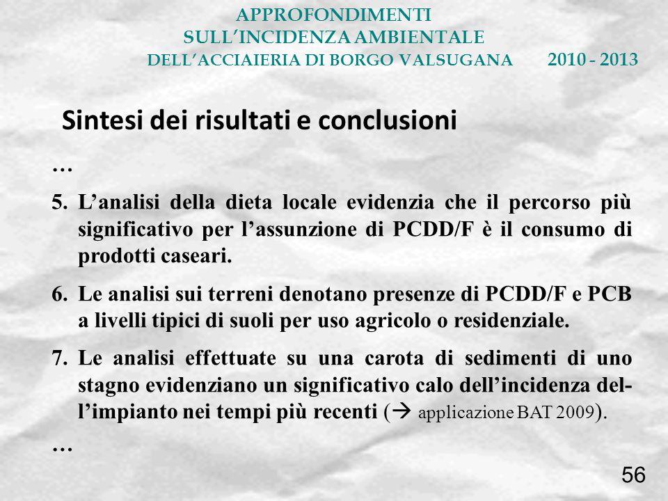 … 5.Lanalisi della dieta locale evidenzia che il percorso più significativo per lassunzione di PCDD/F è il consumo di prodotti caseari. 6.Le analisi s