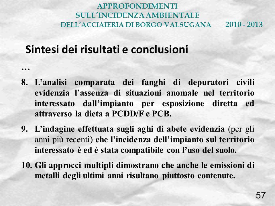 … 8.Lanalisi comparata dei fanghi di depuratori civili evidenzia lassenza di situazioni anomale nel territorio interessato dallimpianto per esposizion