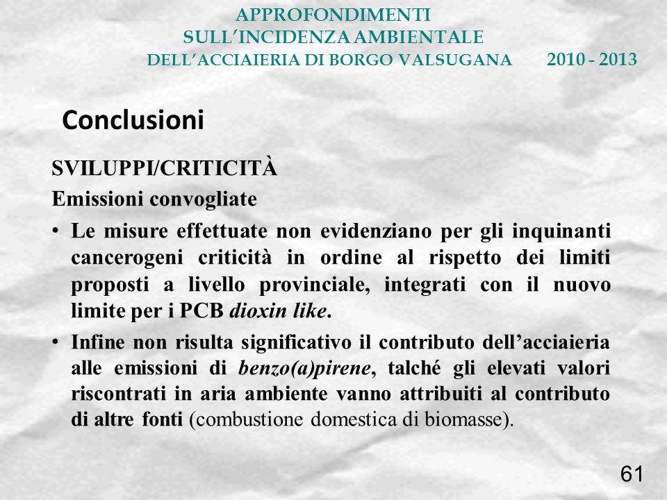 SVILUPPI/CRITICITÀ Emissioni convogliate Le misure effettuate non evidenziano per gli inquinanti cancerogeni criticità in ordine al rispetto dei limit