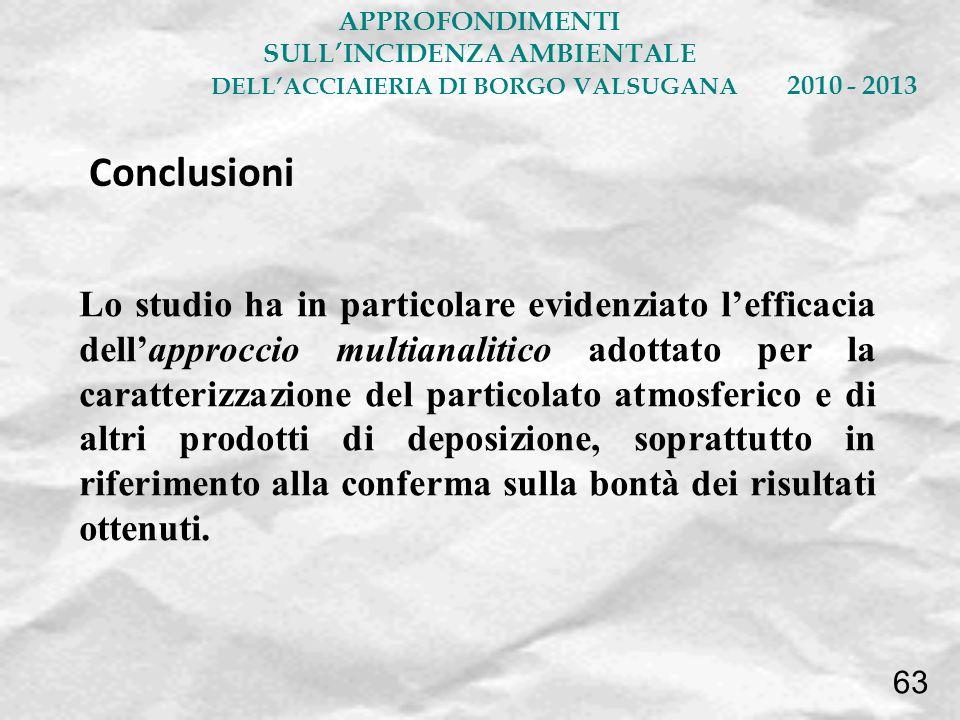 Lo studio ha in particolare evidenziato lefficacia dellapproccio multianalitico adottato per la caratterizzazione del particolato atmosferico e di alt