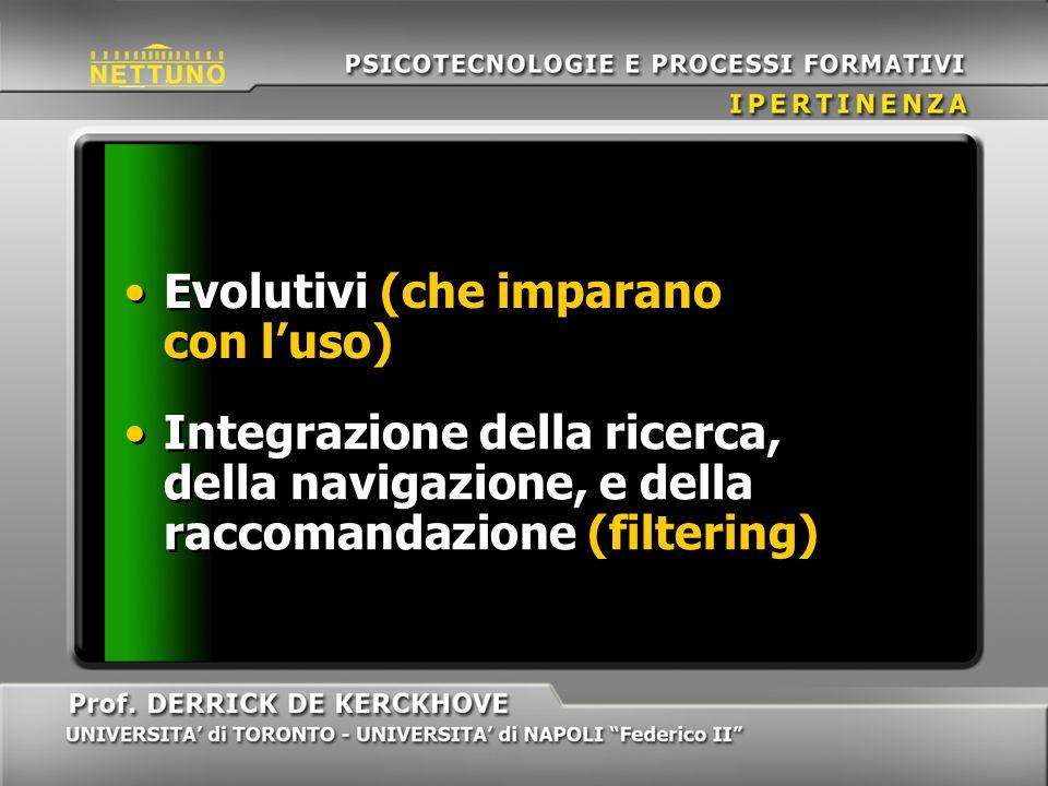 Integrazione della ricerca, della navigazione, e della raccomandazione (filtering) Evolutivi (che imparano con luso)