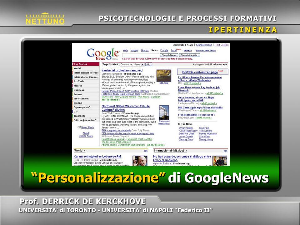 Personalizzazione di GoogleNews