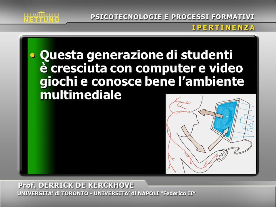 Questa generazione di studenti è cresciuta con computer e video giochi e conosce bene lambiente multimediale