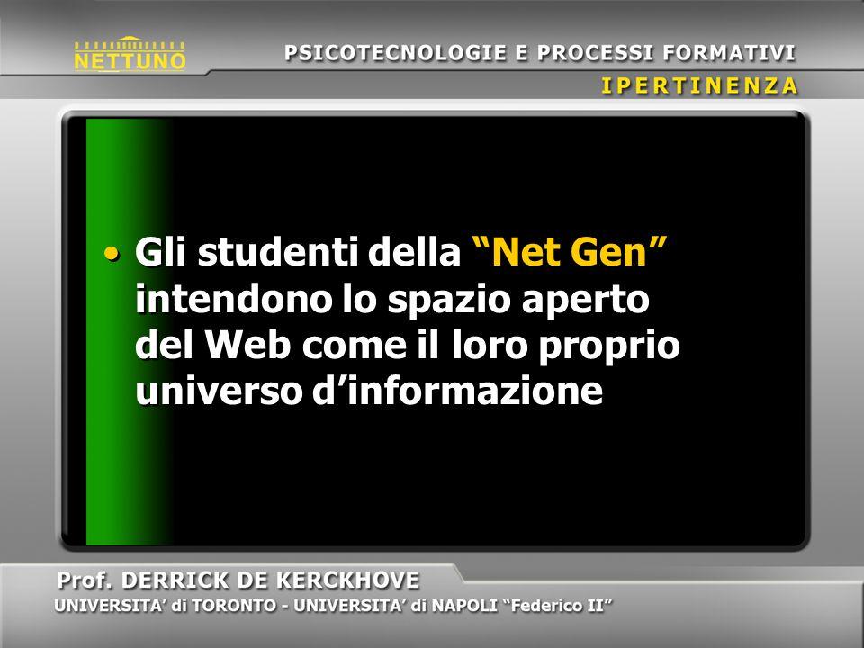 Gli studenti della Net Gen intendono lo spazio aperto del Web come il loro proprio universo dinformazione