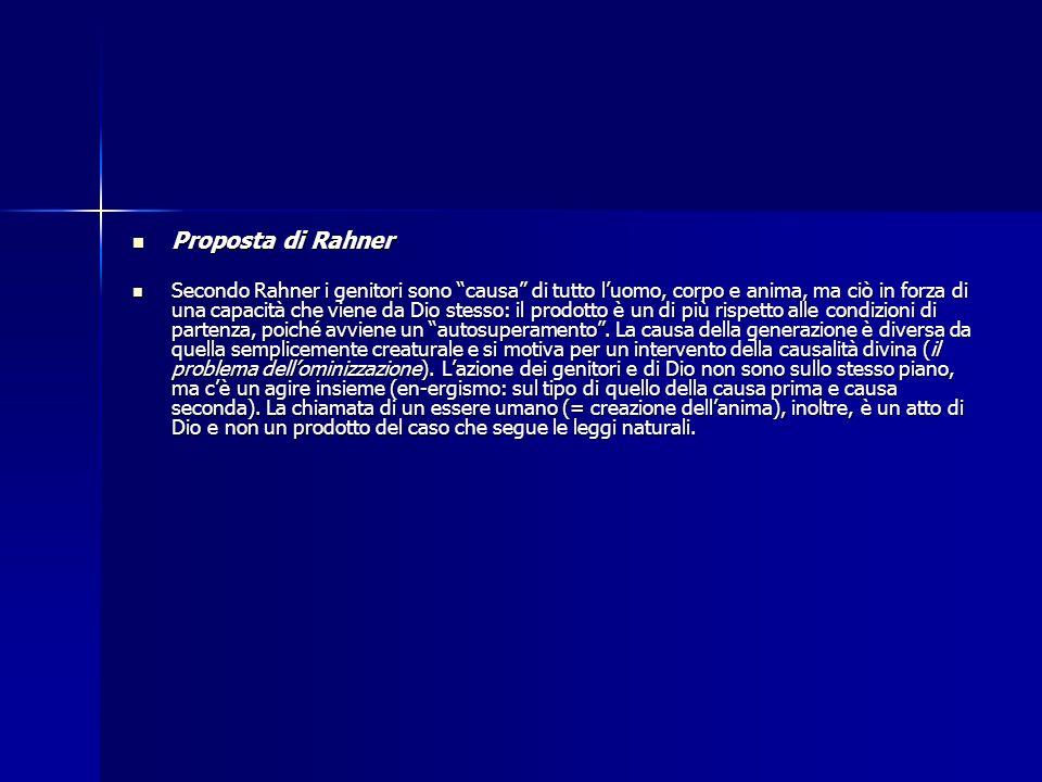 Proposta di Rahner Proposta di Rahner Secondo Rahner i genitori sono causa di tutto luomo, corpo e anima, ma ciò in forza di una capacità che viene da