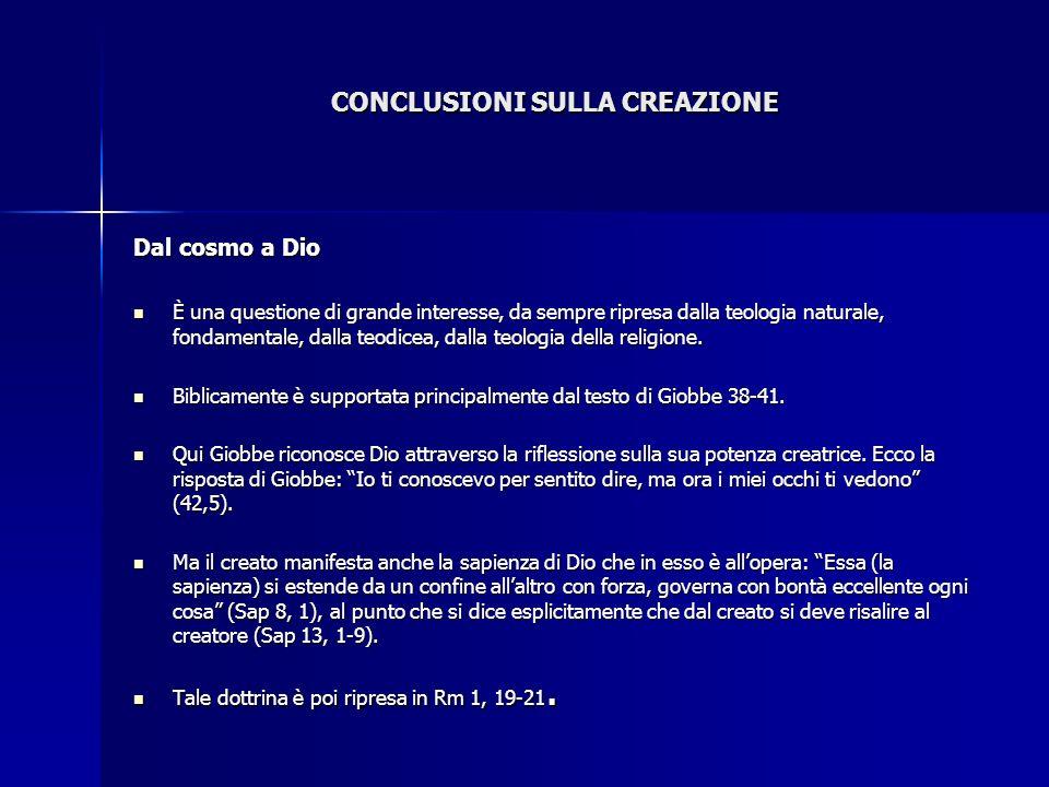 CONCLUSIONI SULLA CREAZIONE Dal cosmo a Dio È una questione di grande interesse, da sempre ripresa dalla teologia naturale, fondamentale, dalla teodic