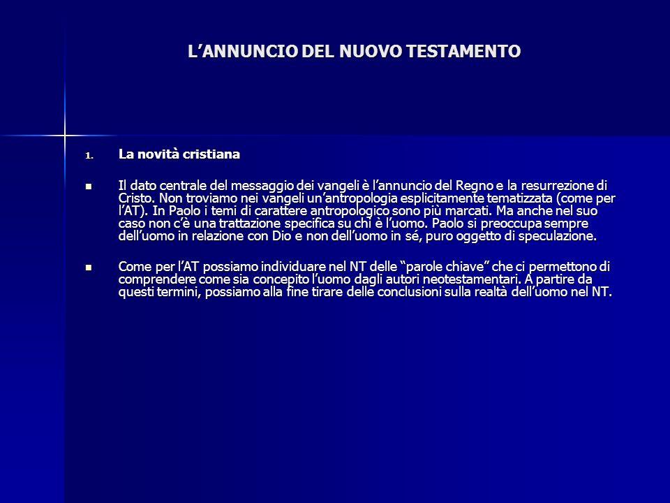 LANNUNCIO DEL NUOVO TESTAMENTO 1. La novità cristiana Il dato centrale del messaggio dei vangeli è lannuncio del Regno e la resurrezione di Cristo. No