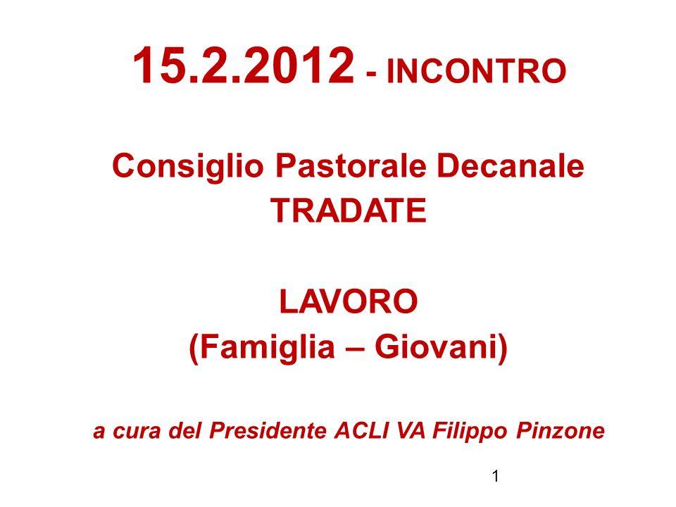 1 15.2.2012 - INCONTRO Consiglio Pastorale Decanale TRADATE LAVORO (Famiglia – Giovani) a cura del Presidente ACLI VA Filippo Pinzone