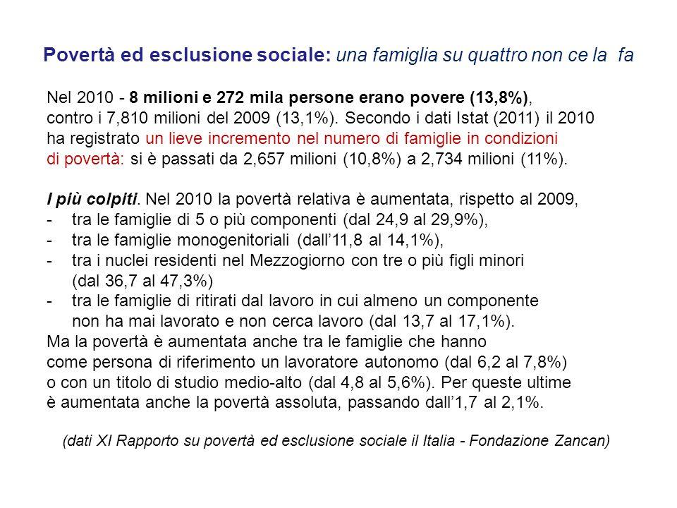 Povertà ed esclusione sociale: una famiglia su quattro non ce la fa Nel 2010 - 8 milioni e 272 mila persone erano povere (13,8%), contro i 7,810 milio