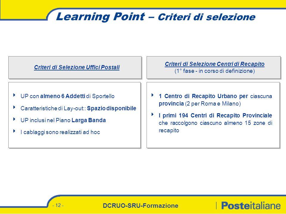 DCRUO-SRU-Formazione - 12 - Learning Point – Criteri di selezione UP con almeno 6 Addetti di Sportello Caratteristiche di Lay-out:: Spazio disponibile