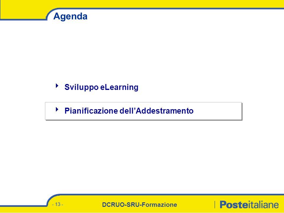 DCRUO-SRU-Formazione - 13 - Agenda Sviluppo eLearning Pianificazione dellAddestramento