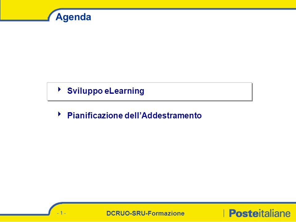 DCRUO-SRU-Formazione - 1 - Agenda Sviluppo eLearning Pianificazione dellAddestramento