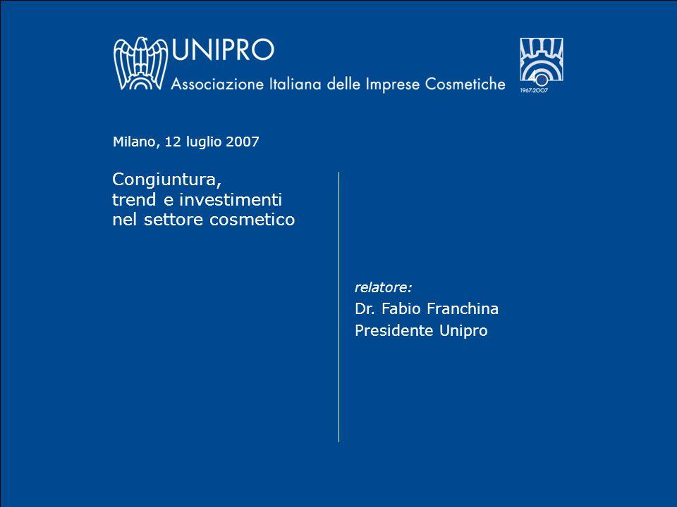 Congiuntura, trend e investimenti nel settore cosmetico relatore: Dr.