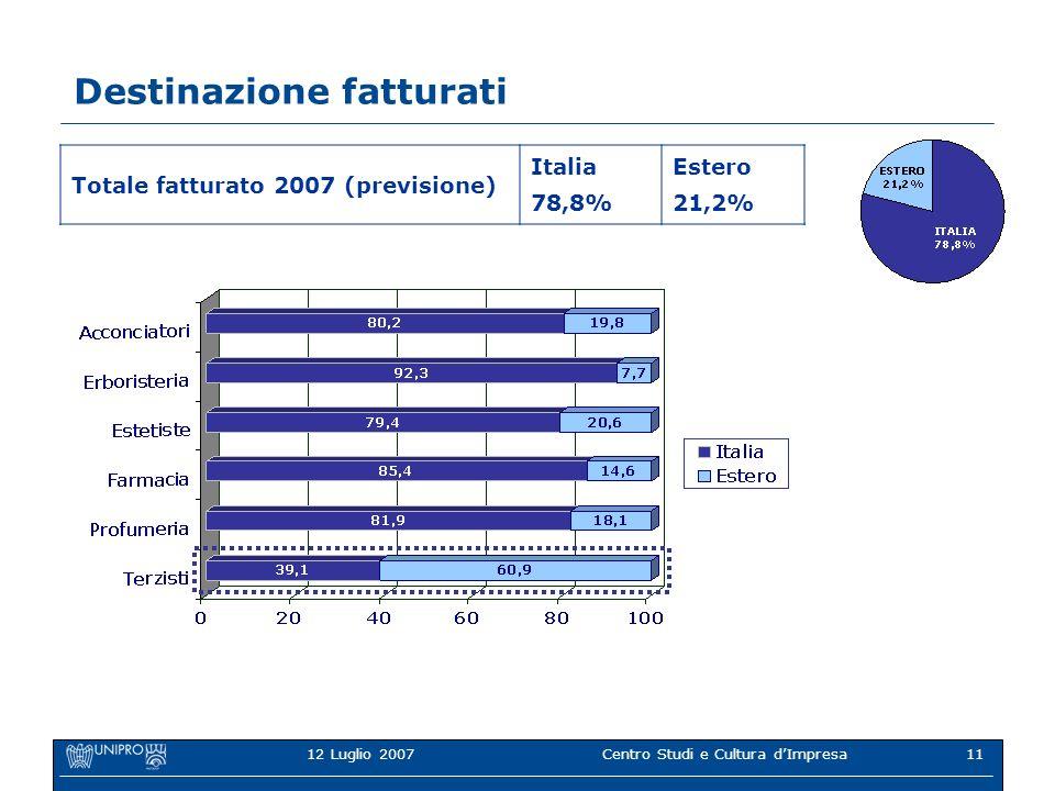 12 Luglio 2007Centro Studi e Cultura dImpresa11 Destinazione fatturati Totale fatturato 2007 (previsione) Italia 78,8% Estero 21,2%