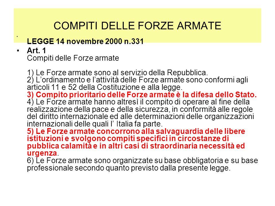 COMPITI DELLE FORZE ARMATE LEGGE 14 novembre 2000 n.331 Art. 1 Compiti delle Forze armate 1) Le Forze armate sono al servizio della Repubblica. 2) Lor
