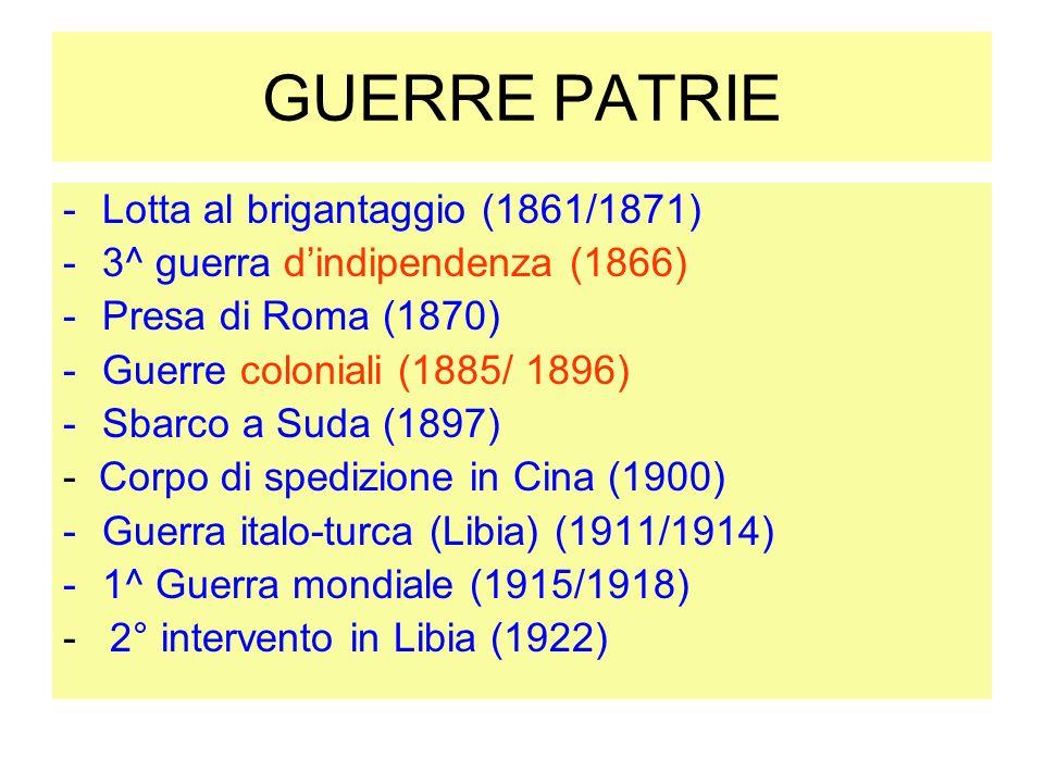 GUERRE PATRIE -Lotta al brigantaggio (1861/1871) -3^ guerra dindipendenza (1866) -Presa di Roma (1870) -Guerre coloniali (1885/ 1896) -Sbarco a Suda (