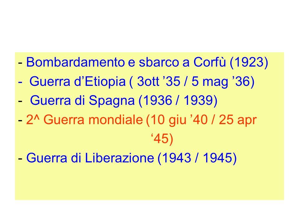 - Bombardamento e sbarco a Corfù (1923) -Guerra dEtiopia ( 3ott 35 / 5 mag 36) - Guerra di Spagna (1936 / 1939) - 2^ Guerra mondiale (10 giu 40 / 25 a