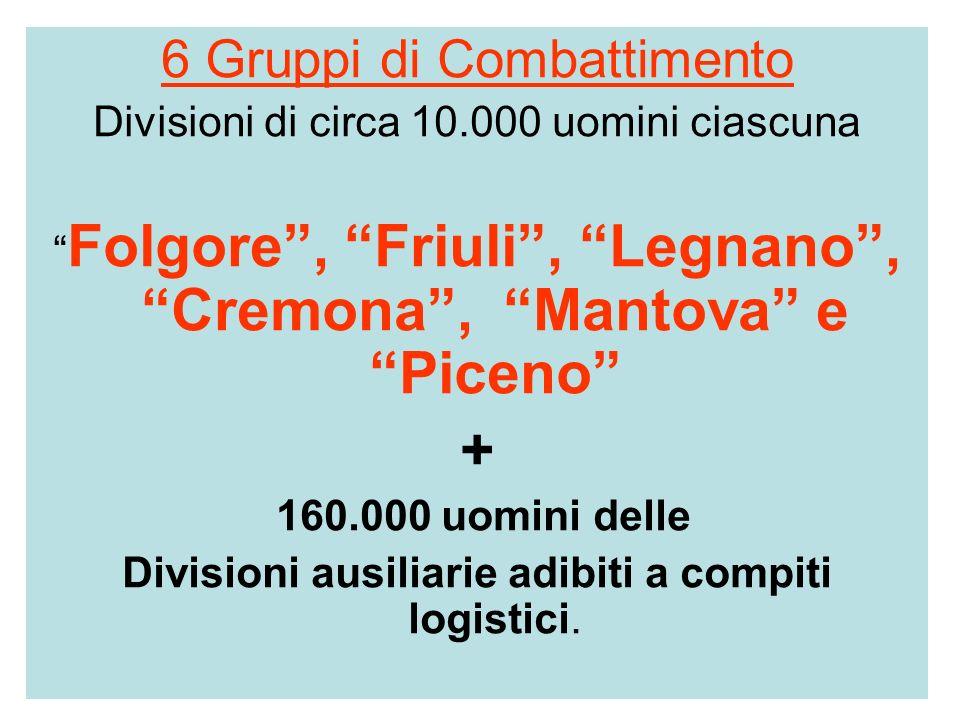 6 Gruppi di Combattimento Divisioni di circa 10.000 uomini ciascuna Folgore, Friuli, Legnano, Cremona, Mantova e Piceno + 160.000 uomini delle Divisio