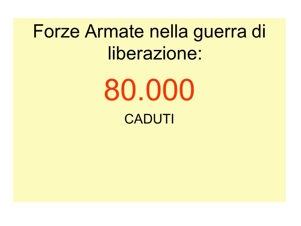 Forze Armate nella guerra di liberazione: 80.000 CADUTI