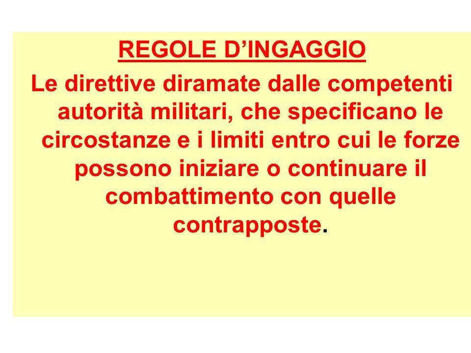REGOLE DINGAGGIO Le direttive diramate dalle competenti autorità militari, che specificano le circostanze e i limiti entro cui le forze possono inizia