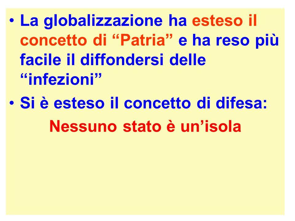 La globalizzazione ha esteso il concetto di Patria e ha reso più facile il diffondersi delle infezioni Si è esteso il concetto di difesa: Nessuno stat