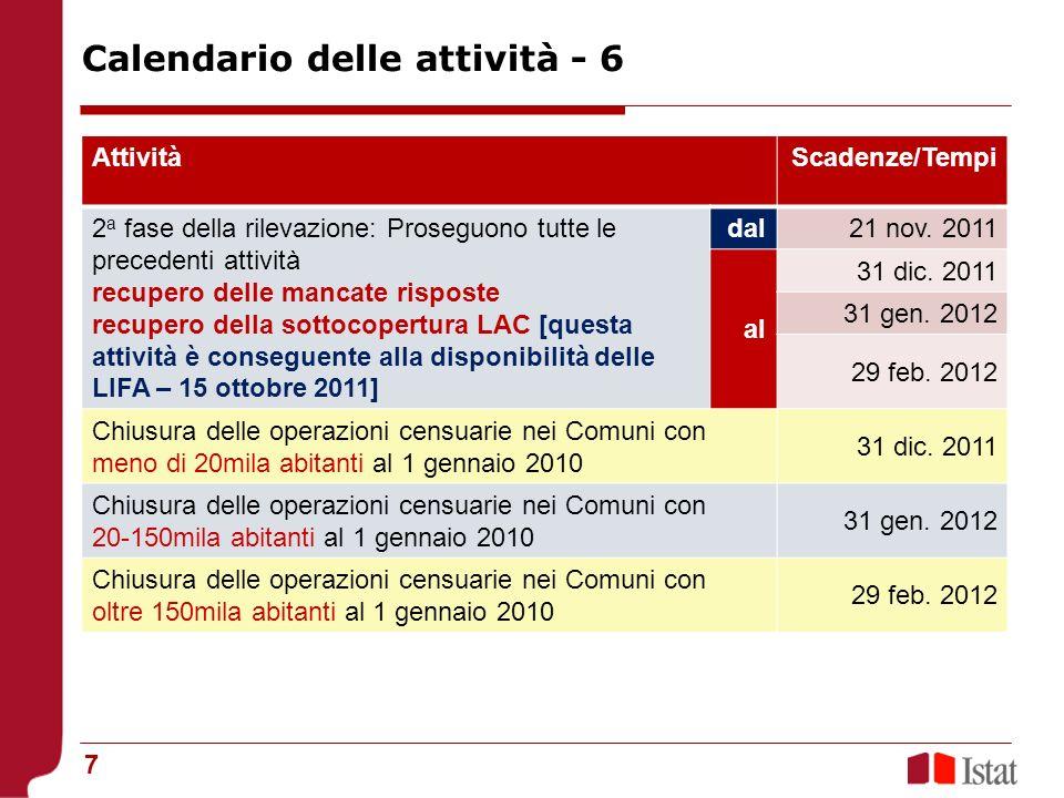 8 AttivitàScadenze Confronto censimento-anagrafe nei Comuni con meno di 20mila abitanti al 1 gennaio 2010 10 feb.