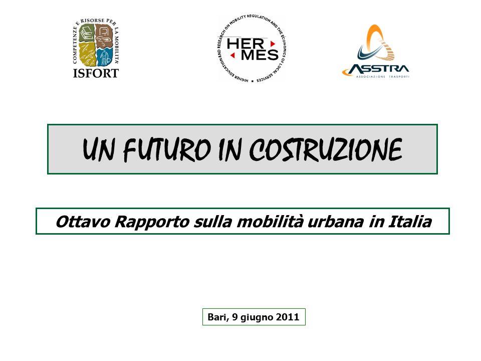 UN FUTURO IN COSTRUZIONE Bari, 9 giugno 2011 Ottavo Rapporto sulla mobilità urbana in Italia
