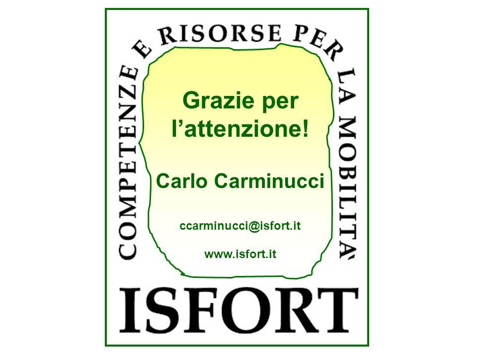 Grazie per lattenzione! Carlo Carminucci ccarminucci@isfort.it www.isfort.it