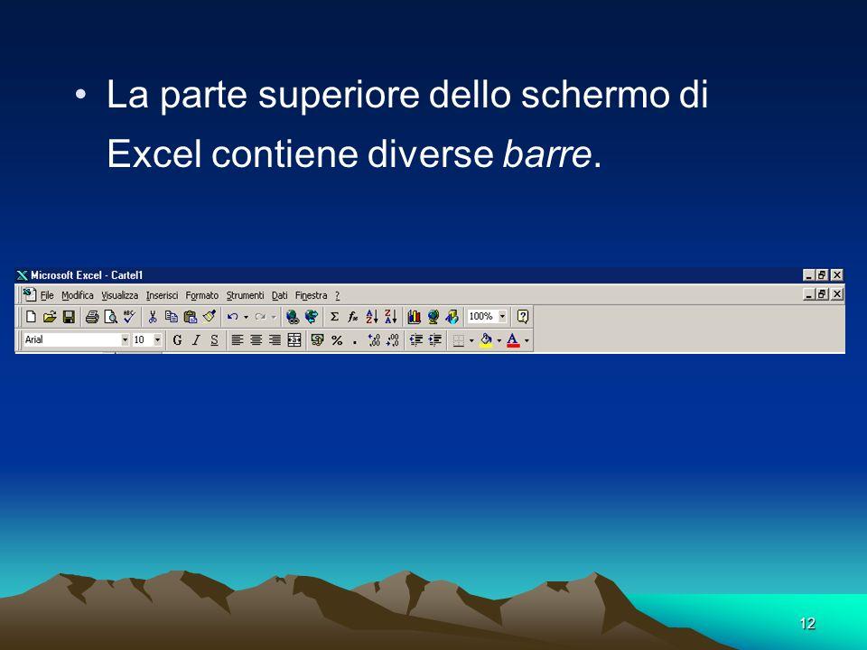 12 La parte superiore dello schermo di Excel contiene diverse barre.