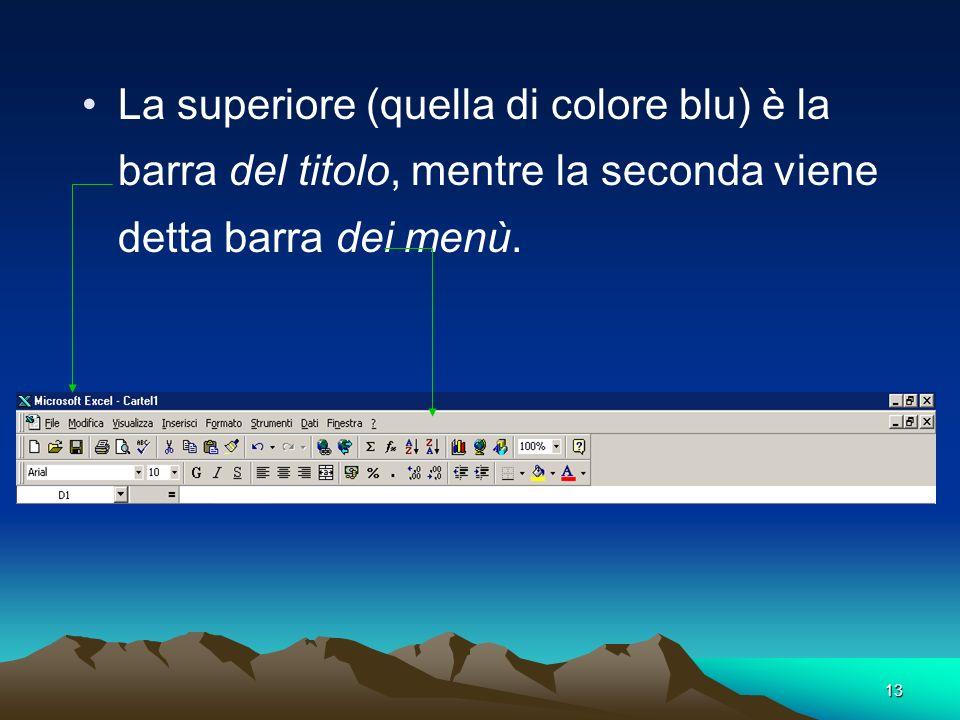 13 La superiore (quella di colore blu) è la barra del titolo, mentre la seconda viene detta barra dei menù.