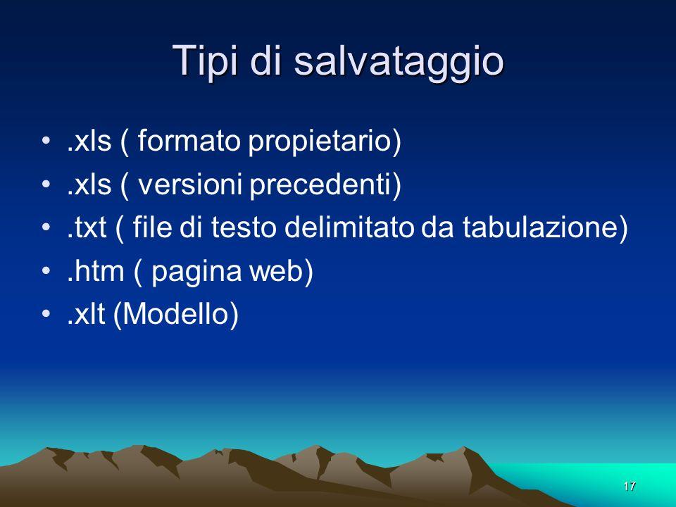 17 Tipi di salvataggio.xls ( formato propietario).xls ( versioni precedenti).txt ( file di testo delimitato da tabulazione).htm ( pagina web).xlt (Mod