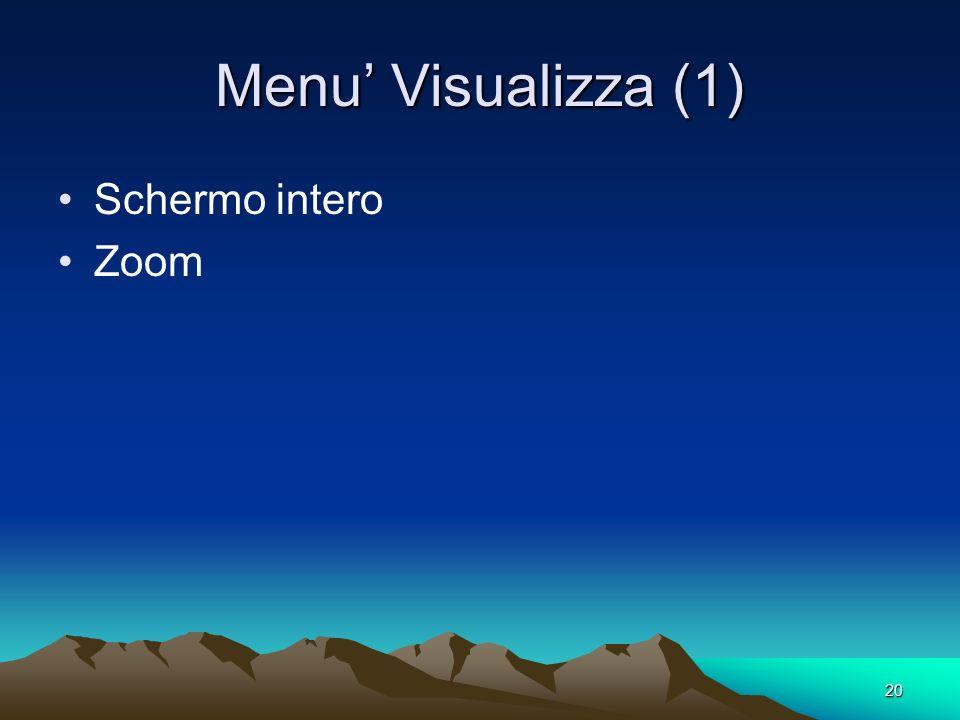 20 Menu Visualizza (1) Schermo intero Zoom